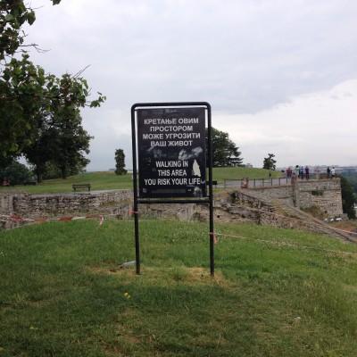 Hier waren we wederom bij een fort, deze keer die van Belgrado. Je moet dus goed oppassen, anders ga je dood.