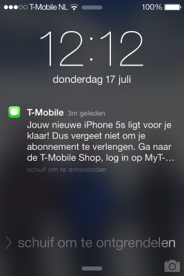 Ik vond dit nogal een agressieve manier om van T-mobiles voorraad 'oude' iPhones af te komen, voordat de iPhone 6 uitkomt. No thanks.