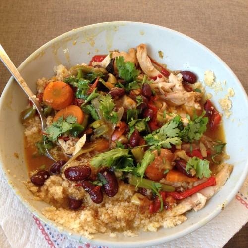 Het was een heerlijke kip-groente-couscous-stoofpot. <3