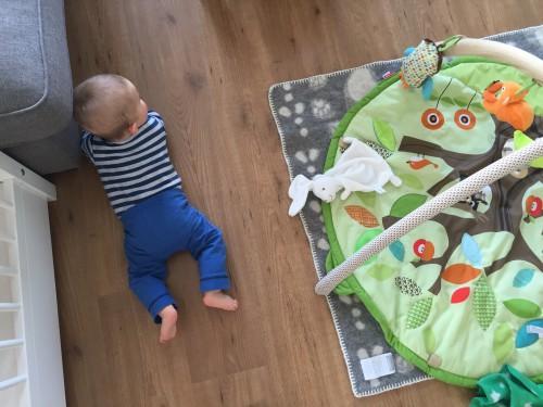Mini kan sinds een tijdje rollen en daar wordt hij steeds handiger in. We vinden hem soms aan de andere kant van de kamer weer terug.